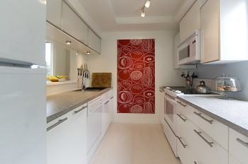 New galley layout maximizes the space and allows for long runs of countertops