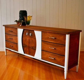Maxim the Mid Century Modern Walnut Credenza – Sold | Little 2 the on mid century modern 9 drawer dresser, jesper credenza office storage wood, mid century wood furniture,
